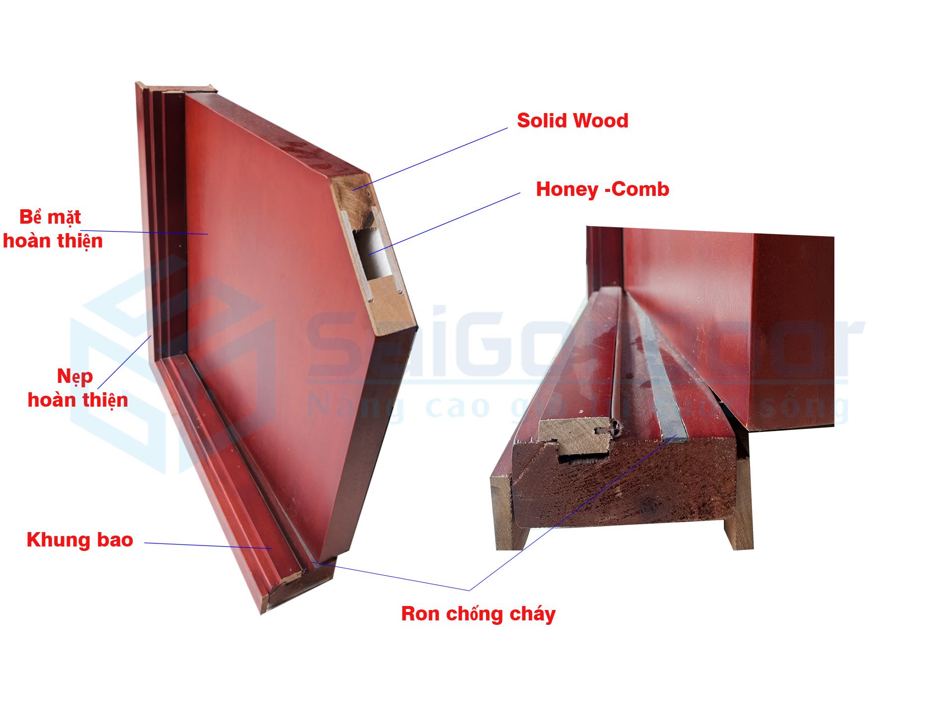 Mặt cắt cấu tạo cửa gỗ chống cháy